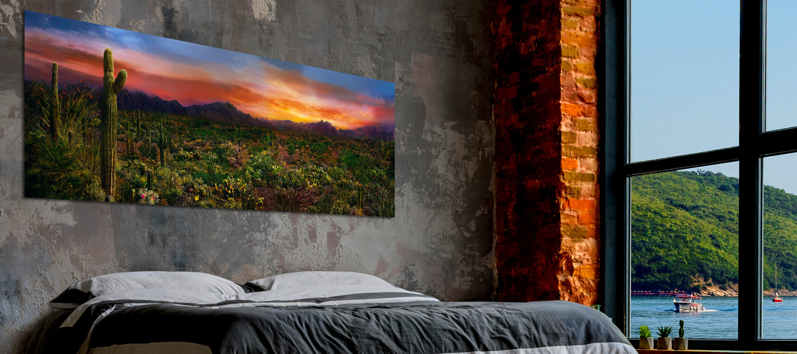 Large,Loft,Interior,With,Bed,And,Sea,And,Mountains,In